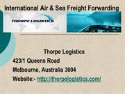International Freight Forwarding Services in Melbourne, Australia