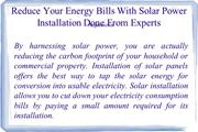 Reduce Your Energy Bills With Solar Power Installation