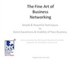 The Fine Art of Business Networking