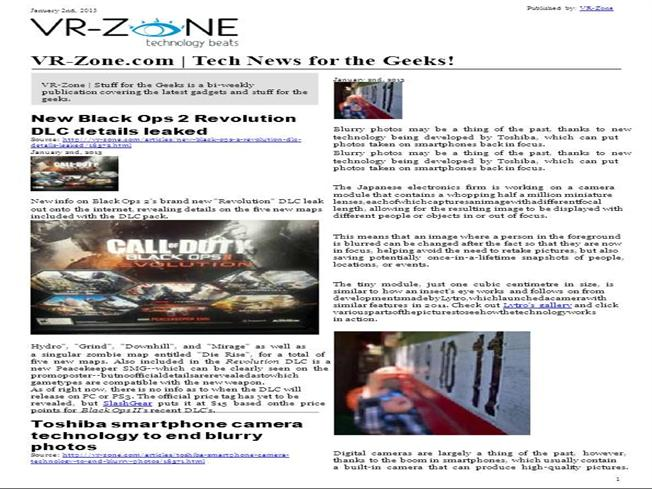 Vr Zone Tech News For The Geeks Jan 2013 Issue Authorstream