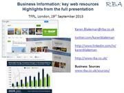 Highlights from business information workshop, 19th September 2013