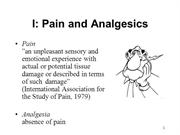 Pain and Analgesics