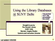 Using the Library Databases at SUNYDelhi