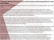 The Global Banking Financial Crisis's and Its Impact on Developing Nat