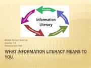 What Information Literacy Means To YOU