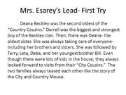 Mrs. Esarey's 2nd Try Lead