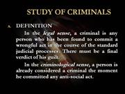 STUDY OF CRIMINALS