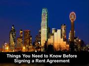 Things You Need to Know Before Signing a Rent Agreement
