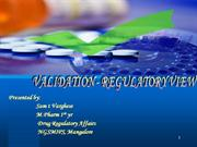 PHARMACEUTICAL VALIDATION REGULATORY VIEW