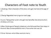 Characters of Foot note to Youth