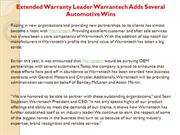 Extended Warranty Leader Warrantech Adds Several  Automotive Wins