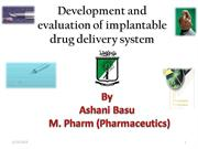 Development and evaluation of implantable drug delivery system