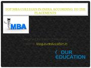 Top MBA Colleges in India According to the Placements