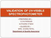 VALIDATION OF UV-VISIBLE SPECTROPHOTOMETER