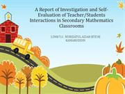 A Report of Investigation and Self-Evaluation of Teacher