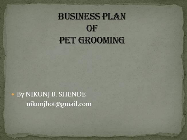 dog grooming business plan pdf
