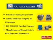 Worm Gear Boxes Mnnufacturer, Covaai Gears, Coimbatore