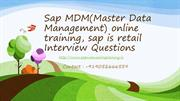 Sap MDM(Master Data Management) online training, sap is retail Intervi