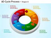 DESIGN EDITABLE CYCLE PROCESS FLOW 6 STAGES SLIDE