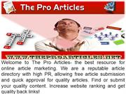 TheProArticles - Free Online Articles submission Directory
