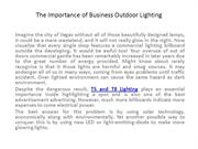 The Importance of Business Outdoor Lighting1