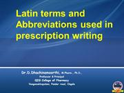 Latin terms and Abbreviations used in prescription writing