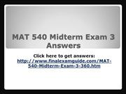 MAT 540 Midterm Exam Answer