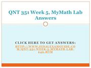 QNT 351 Week 5 MyMath Lab