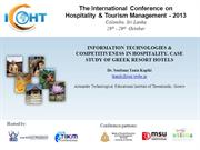 INFORMATION TECHNOLOGIES & COMPETITIVENESS IN HOSPITALITY