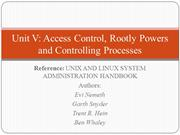 OSA Unit - V: Access Control, Rootly Powers and Controlling Processes