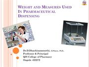 Weight and Measures Used In Pharmaceutical Dispensing