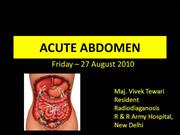 Acute Abdomen- a detailed presentation