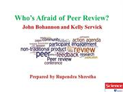 Who is afraid of peer review [Review-Rupendra Shrestha]