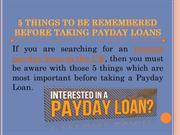 5 things to be remembered before taking payday loans in UK