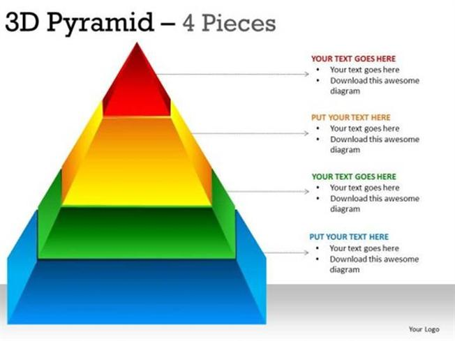 triangular shaped 3d pyramid chart 4 stages-powerpoint diagram, Powerpoint templates