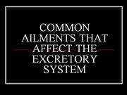 COMMON AILMENTS THAT AFFECT THE EXCRETOR