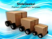 PACKAGE CAR FOR DISTRIBUTION OF SUPPLIES POWERPOINT TEMPLATE