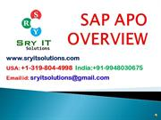 SAP APO ONLINE TRAINING | SRYIT SOLUTIONS