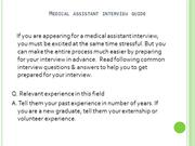 Medical Assistant Interview Guide