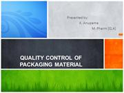 QUALITY CONTROL OF PACKAGING MATERIAL1