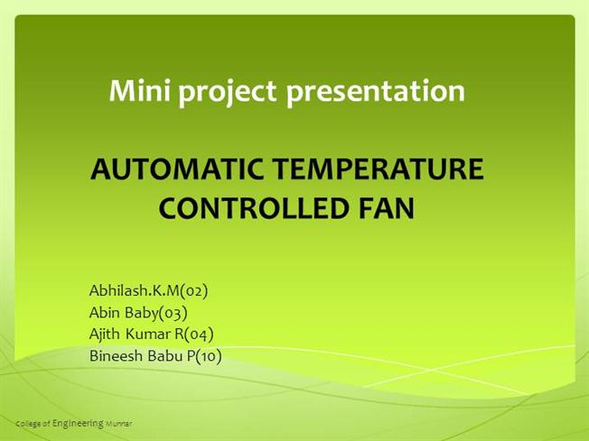 Automatic Tempearture Controlled Fan |authorSTREAM