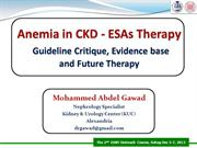 Anemia in CKD - ESAs Therapy
