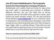 Use Of Custom Bobblehead In The Corporate Events For Promoting Your Co