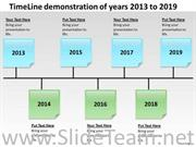 TIMELINE DEMONSTRATION OF YEARS 2013 TO 2019 PPT SLIDES