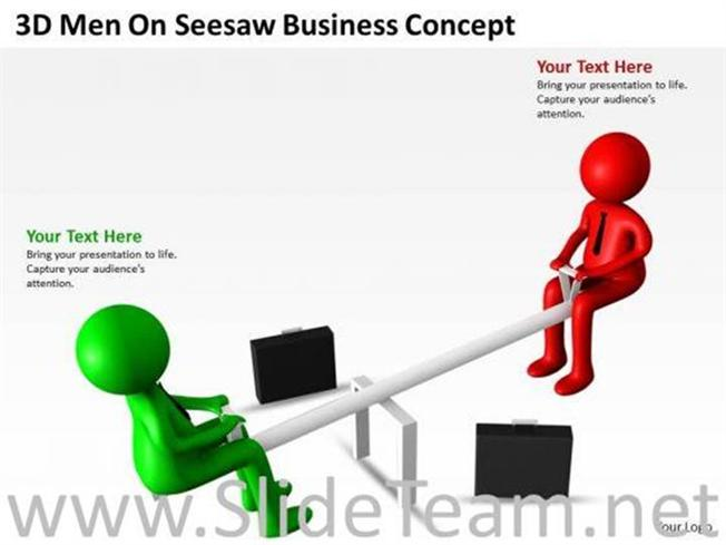 Business Men On Seesaw Powerpoint Diagram Powerpoint Diagram