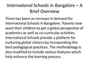 International Schools in Bangalore – A Brief Overview