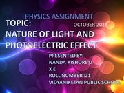 October- Nature of light and photoelectric Effect