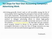Ten Steps For Your Own Accounting Company's Advertising