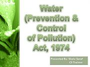 water (prevention & control of pollution) Act, 1974