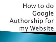 How to do Google Authorship for my Website